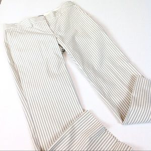 Theory Cropped Striped Cotton Blend Pants 29x27